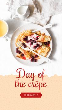 Baked crepes with berries on Day of Crepe