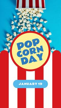 Pop corn Day with Hot popcorn in carton