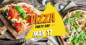 Pizza Party Day Invitation Hot Pizza Slices
