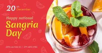 Sangria Day Invitation Drink in Glass