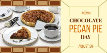 Chocolate Pecan Pie Day Offer Sweet Cake and Coffee