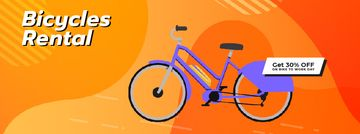 Modern blue bicycle rent offer