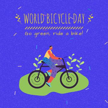Cyclist riding Outdoors on Bicycle Day