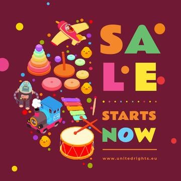 Sale Ad with Toys and musical instruments