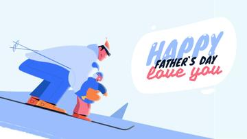 Father and Kid Skiing on Father's Day