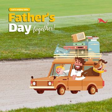 Father's Day with Happy Family in Car
