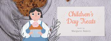 Girl holding cupcake for Children's Day