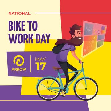 Bike to Work Day Smiling Man Cycling