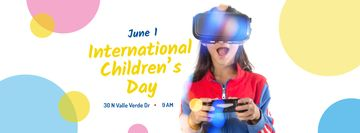 Girl playing vr game on Children's Day