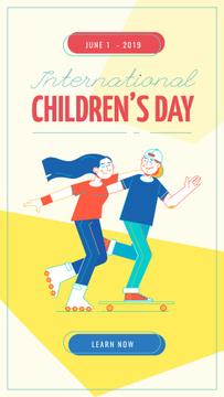 Children's Day Kids riding skateboard and roller skates