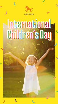 Happy girl in sunlight on Children's Day