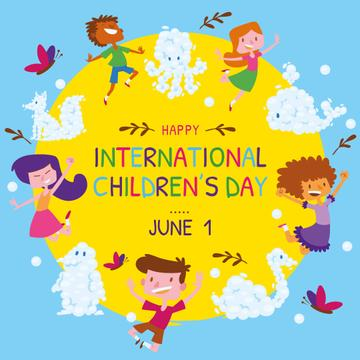 Happy little kids in circle on Children's Day