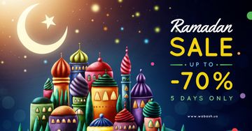 Ramadan Sale Offer Mosque and Town Under Moon