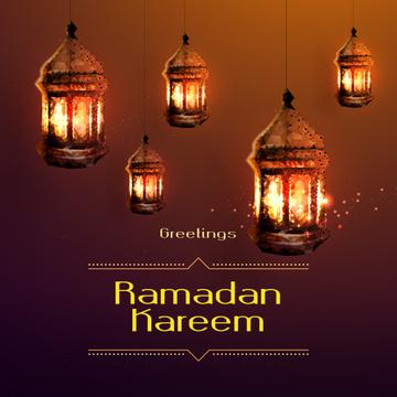 Ramadan Kareem Greeting Golden Lanterns