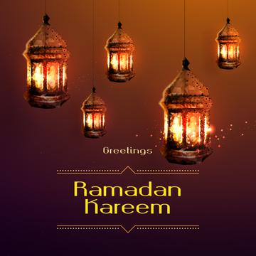 Ramadan Kareem Greeting Golden Lanterns