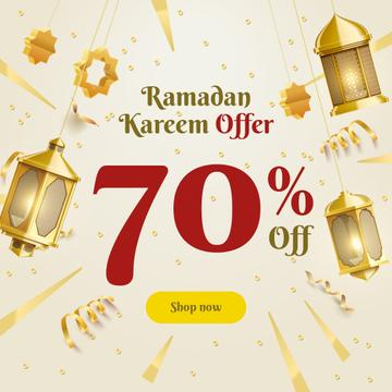 Ramadan Kareem Offer Golden Lanterns