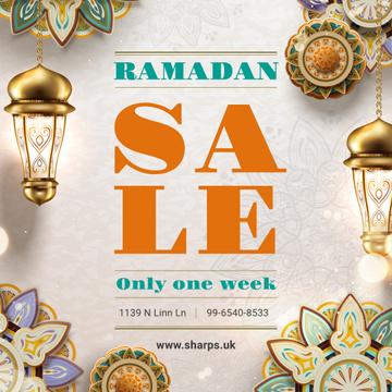 Sale Offer with Ramadan kareem lanterns