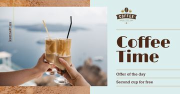 Coffee Offer Toasting with Latte in Glasses