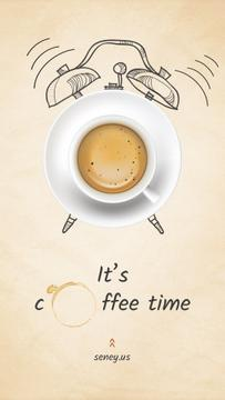 Cup of Coffee with Alarm Clock