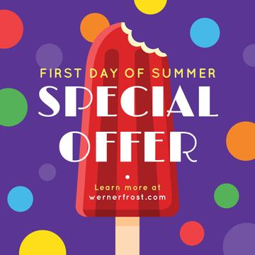First day of Summer with Sweet red ice cream Offer
