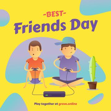 Friends playing video game on Best Friends Day