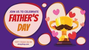 Father's Day Greeting Trophy Cup with Mustaches