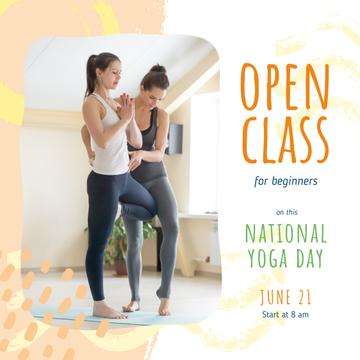 National Yoga Day with Woman practicing yoga with coach