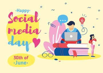 Social Media Day Greeting with Man Working on Laptop
