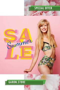 Smiling girl in bikini
