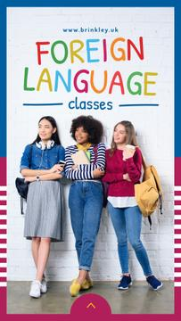 Language Classes Ad with Confident young girls