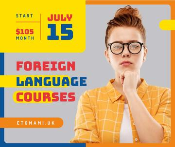 Language Courses ad confident young girl