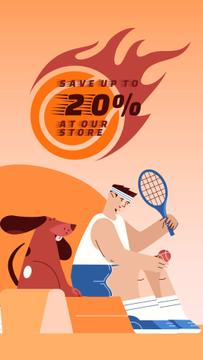 Tennis Player and Dog for Sports Goods sale
