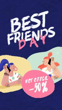 Best Friends Day Offer Girls Talking on Phone
