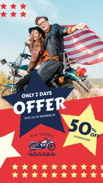 Independence Day Sale Ad with Bikers Couple