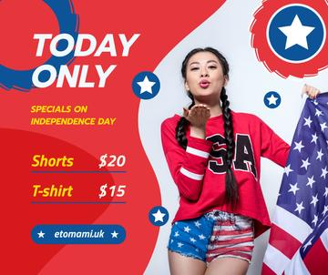Independence Day Sale Ad with Woman Blowing Kiss