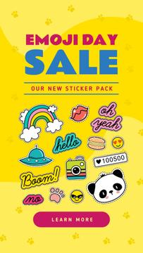 Emoji Day Sale Stickers Set on Yellow