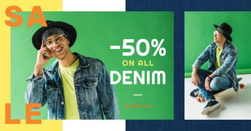 Denim Sale Stylish Man in Hat in Green