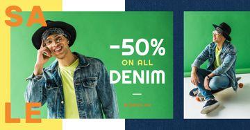 Denim Sale Stylish Man in Hat in Green