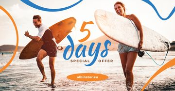 Special Offer Surfers at the Beach with Boards