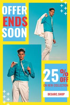 Fashion Ad with Man Wearing Suit in Blue