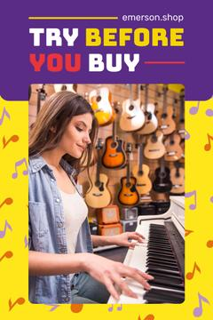 Musical Instruments Shop Invitation with Girl at Piano