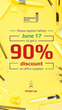 Stationery Store Ad with Office Supplies in Yellow