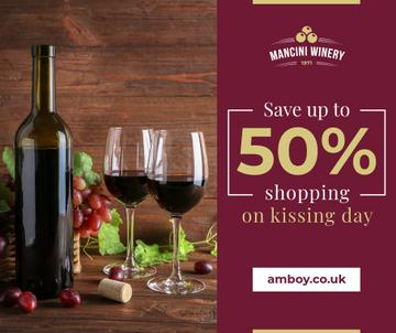 Red Wine Bottle and Filled Glasses on Kissing Day