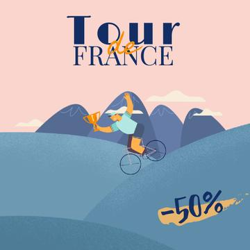 Tour de France with Cyclists with Trophy Cup