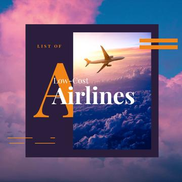 Airlines Offer with Plane Flying in Purple Sky