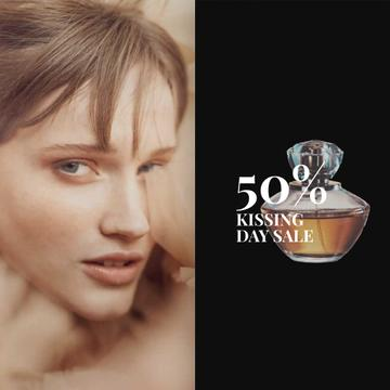Special Offer Beautiful Tender Woman with Perfume Bottle