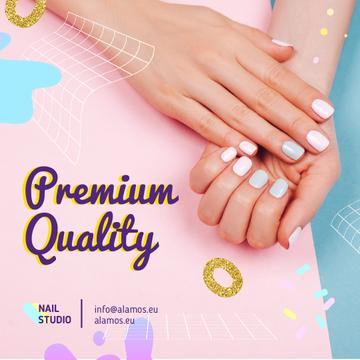 Nail Studio Offer with Manicured Female Hands