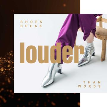 Female Legs in Silver Boots and Purple Pants in glares