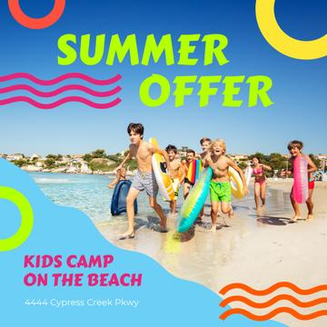 Summer Camp Invitation with Kids on Beach