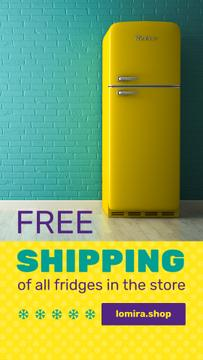 Sale Offer Yellow Fridge by Blue Brick Wall